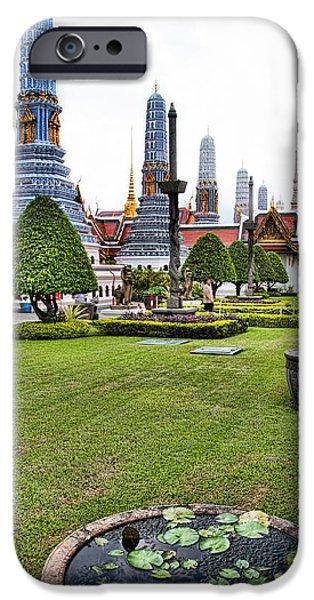 Bangkok iPhone Cases - Grand Palace Temple in Bangkok 1 iPhone Case by David Smith