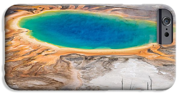 Strange iPhone Cases - Grand Prismatic Spring iPhone Case by Aaron Spong