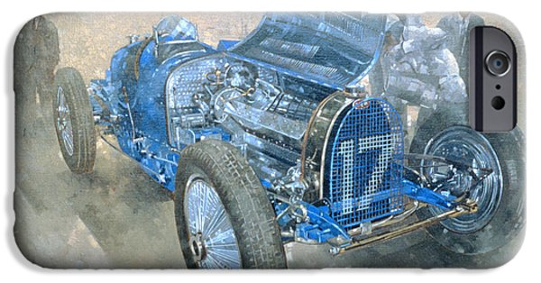 Mechanics Paintings iPhone Cases - Grand Prix Bugatti iPhone Case by Peter Miller