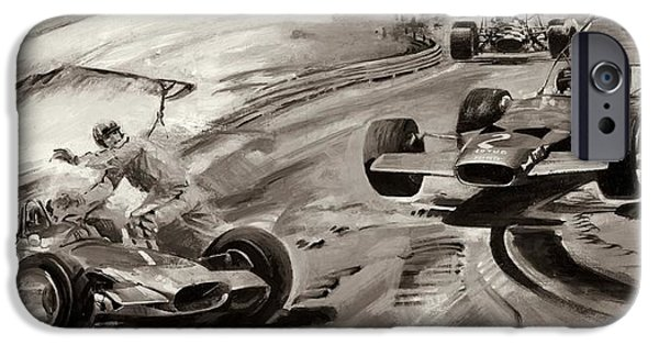 Component Drawings iPhone Cases - Grand Prix Problems iPhone Case by Graham Coton