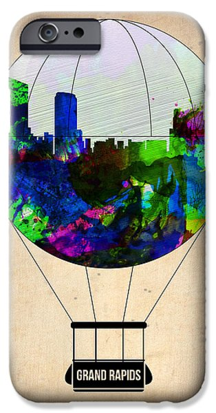Rapids iPhone Cases - Grand Rapids Air Balloon iPhone Case by Naxart Studio