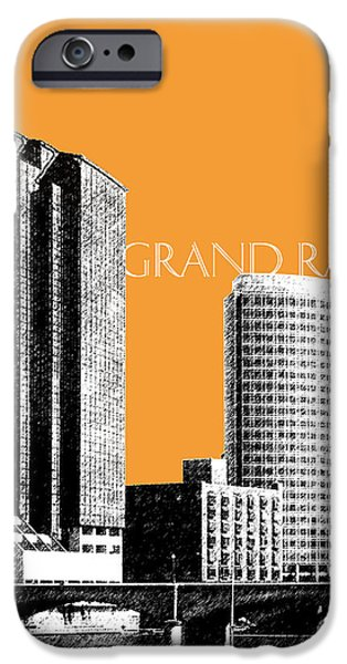 Pen And Ink Digital Art iPhone Cases - Grand Rapids Skyline - Orange iPhone Case by DB Artist