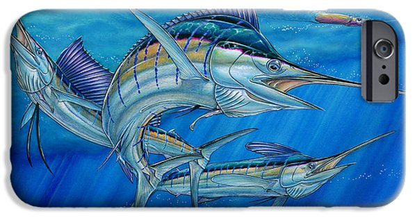 Sailfish Paintings iPhone Cases - Grand Slam And Lure. iPhone Case by Terry Fox