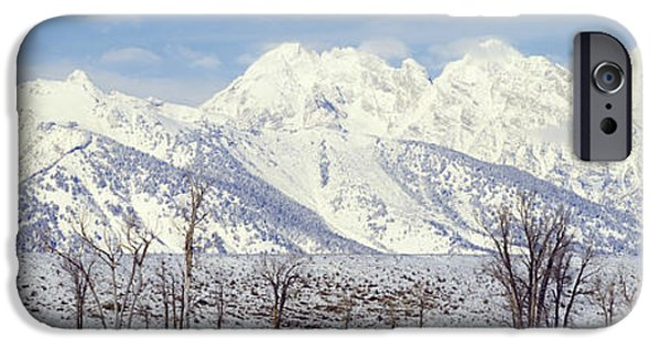 Winter Scene iPhone Cases - Grand Teton Range In Winter, Wyoming iPhone Case by Panoramic Images