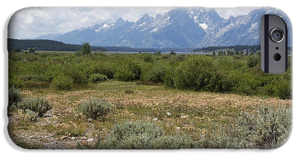 Willow Lake iPhone Cases - Grand Tetons from Willow Flats iPhone Case by Belinda Greb
