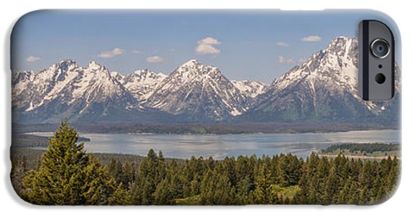 Snow iPhone Cases - Grand Tetons Over Jackson Lake Panorama iPhone Case by Brian Harig
