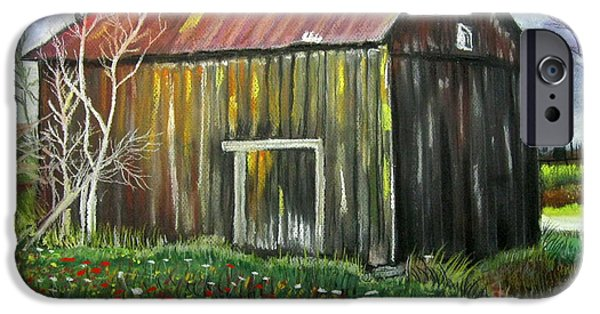 Barn Landscape Pastels iPhone Cases - Granddaddys Shed iPhone Case by Mike Benton