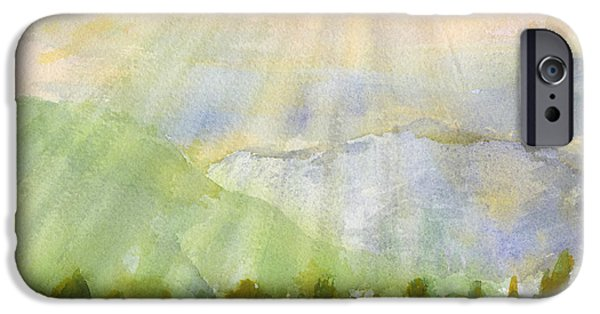 Sun Rays Paintings iPhone Cases - Grandma Cohen Rays iPhone Case by Walt Brodis