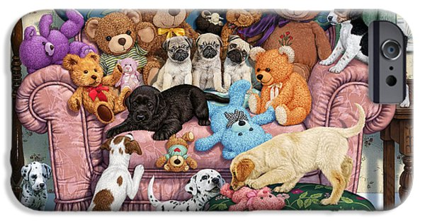 Beagles iPhone Cases - Grandmas Armchair iPhone Case by Steve Read
