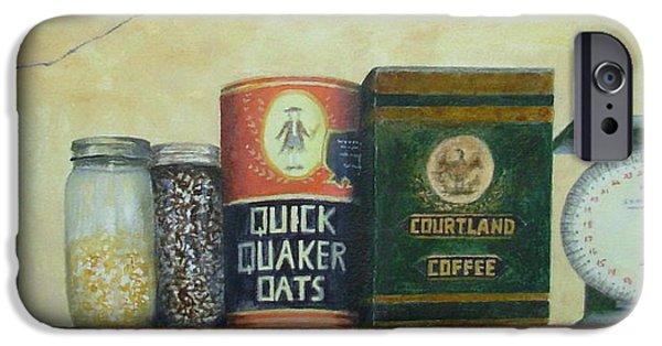 Quaker Paintings iPhone Cases - Grandmas Cupboard iPhone Case by Elizabeth Crabtree