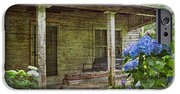 Cabin Window iPhone Cases - Grandmas Porch iPhone Case by Debra and Dave Vanderlaan