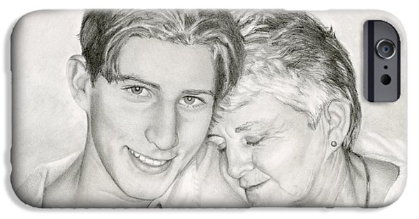 Sarah Batalka Drawings iPhone Cases - Grandmother And Grandson iPhone Case by Sarah Batalka