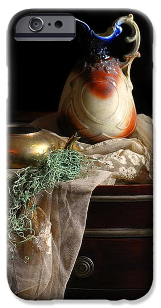 Still Life With Pitcher iPhone Cases - Grandmothers Lace Cloth iPhone Case by Diana Angstadt
