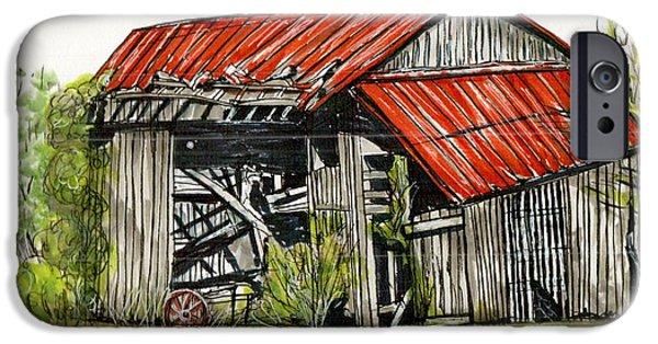 Old Barns Drawings iPhone Cases - Grandpas Barn iPhone Case by Karen Wilson