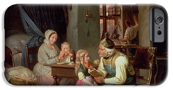 Interior Scene iPhone Cases - Grandpas Favourite Oil On Canvas iPhone Case by Friedrich Edouard Meyerheim