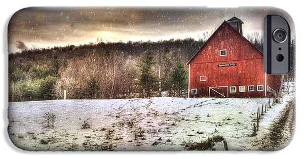 Red Barn In Winter Photographs iPhone Cases - Grand View Farm - Vermont Red Barn iPhone Case by Joann Vitali