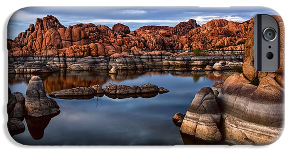 Watson Lake iPhone Cases - Granite Dells at Watson Lake Arizona 2 iPhone Case by Dave Dilli