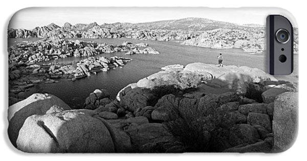 Watson Lake iPhone Cases - Granite Dells Panoramic iPhone Case by Tam Ryan