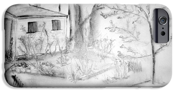 Shed Mixed Media iPhone Cases - Granpas Backyard III iPhone Case by Helena Bebirian
