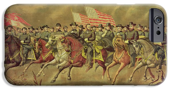 President iPhone Cases - Grant And His Officers Colour Litho iPhone Case by E. Boell