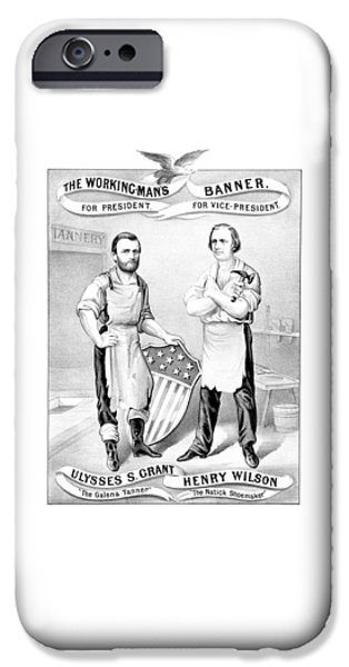 Election iPhone Cases - Grant And Wilson 1872 Election Poster  iPhone Case by War Is Hell Store