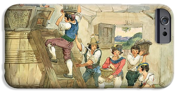 Agriculture iPhone Cases - Grape-pickers Carrying Grapes To The Press Pen & Ink And Wc On Paper iPhone Case by Achille Pinelli