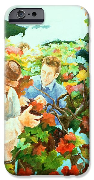 Grape Vine iPhone Cases - Grape Pickers iPhone Case by Cristiana Angelini