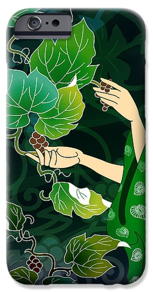 Grape Picking iPhone Case by Bedros Awak