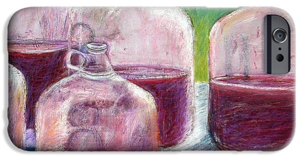 Wine Bottles Pastels iPhone Cases - Grape Stomp Residuals Pastel iPhone Case by Antonia Citrino