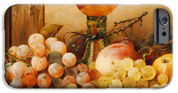 Object Paintings iPhone Cases - Grapes apples plums and a peach with hock glass on draped ledge iPhone Case by Edward Ladell