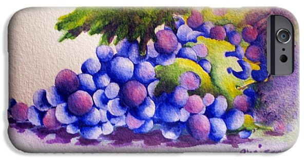 Cookbook Paintings iPhone Cases - Grapes iPhone Case by Chrisann Ellis