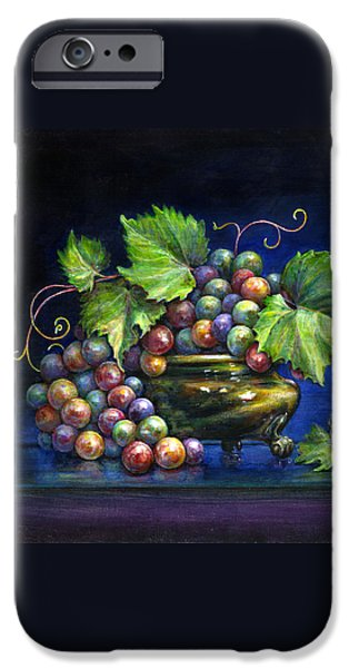 Grapes in a Footed Bowl iPhone Case by Jane Bucci