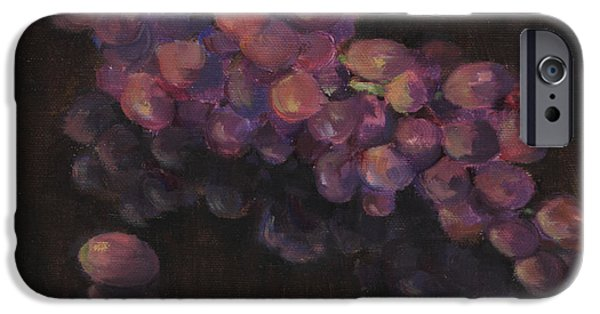 Business Paintings iPhone Cases - Grapes in Reflection iPhone Case by Maria Hunt