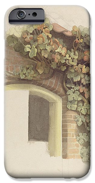 Grapevines iPhone Cases - Grapevines On A Brick House, 1832 Pencil And Wc On Paper iPhone Case by Johann Martin Gensler
