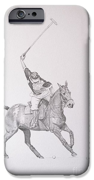 Graphite Drawing - Shooting for the Polo Goal iPhone Case by Roena King
