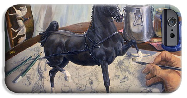 American Saddlebred iPhone Cases - Graphite Resurrection II.I iPhone Case by Jeanne Newton Schoborg