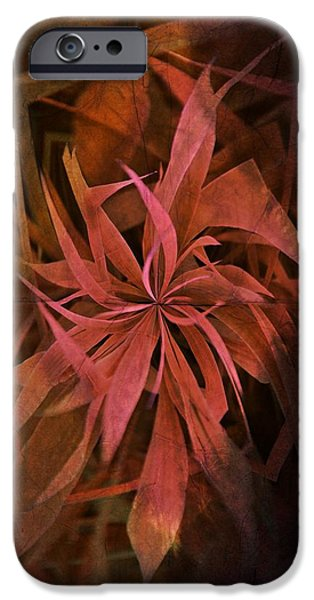 Japanese School iPhone Cases - Grass Abstract - Fire iPhone Case by Marianna Mills