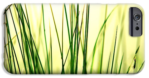 Meadow Photographs iPhone Cases - Grass background iPhone Case by Michal Bednarek