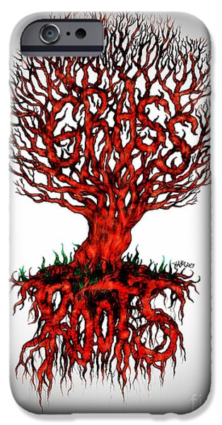 Tree Roots Drawings iPhone Cases - Grass Roots iPhone Case by Baruska A Michalcikova