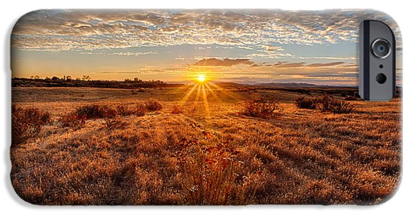 Temecula iPhone Cases - Grassland Sunset iPhone Case by Peter Tellone