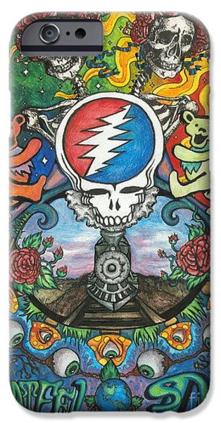 Rocks Drawings iPhone Cases - Grateful Dead Fantasy iPhone Case by Amanda Paul