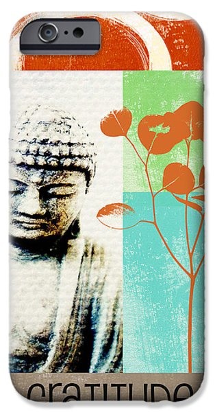 Card Mixed Media iPhone Cases - Gratitude Card- Zen Buddha iPhone Case by Linda Woods