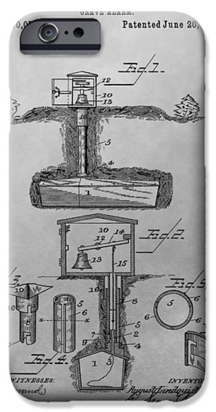 Haunted House iPhone Cases - Grave Alarm Patent Drawing iPhone Case by Dan Sproul