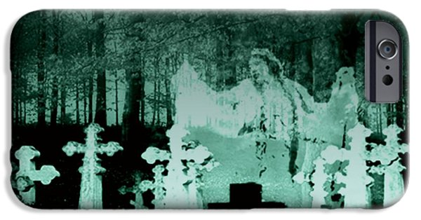 Cemetary Mixed Media iPhone Cases - Grave Dancing iPhone Case by Desiree Paquette