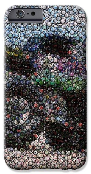 Grave Digger Bottle Cap Mosaic iPhone Case by Paul Van Scott