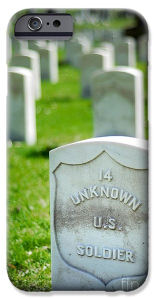Headstones iPhone Cases - Grave of an Unknown Soldier iPhone Case by Amy Cicconi