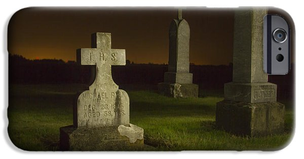 Final Resting Place Photographs iPhone Cases - Gravestones at Night Painted with Light iPhone Case by Jean Noren