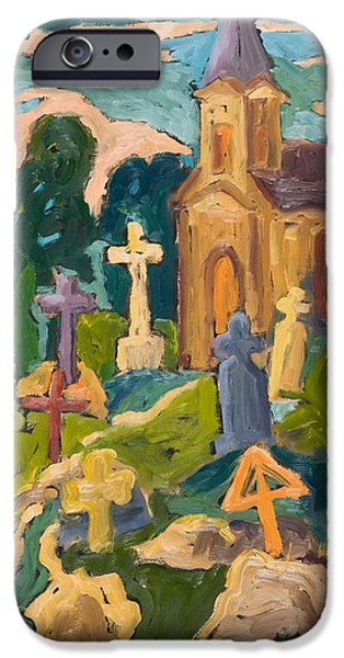 Headstones iPhone Cases - Graveyard And Chapel, 2005 Oil On Board iPhone Case by Marta Martonfi-Benke