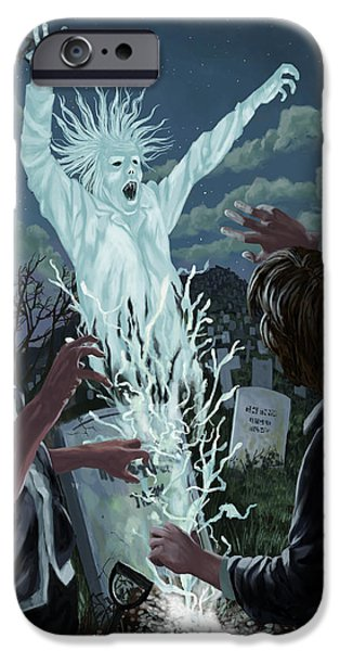 Ghost Story iPhone Cases - Graveyard Digger Ghost Rising From Grave iPhone Case by Martin Davey