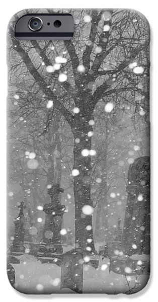 Snow Scene Digital iPhone Cases - Graveyard In Winter iPhone Case by Gothicolors Donna Snyder